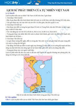 Lý thuyết và câu hỏi trắc nghiệm ôn tập chủ đề Sự phát triển của tự nhiên Việt Nam Địa lí 8