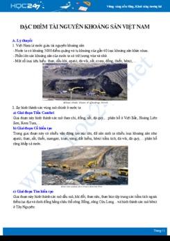 Lý thuyết và câu hỏi trắc nghiệm ôn tập chủ đề Đặc điểm tài nguyên khoáng sản Việt Nam Địa lí 8