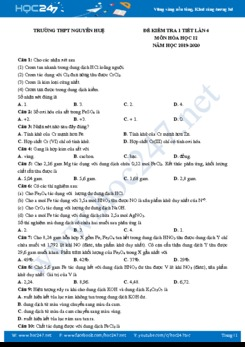 Đề kiểm tra 1 tiết lần 4 môn Hóa học 12 năm 2020 Trường THPT Nguyễn Huệ