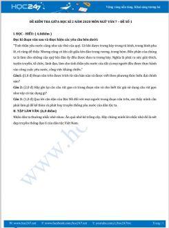 Đề kiểm tra giữa HK2 năm 2020 môn Ngữ Văn 7 - Đề số 1