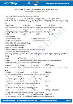 Bộ 200 câu hỏi trắc nghiệm ôn tập môn Hóa học 9 năm 2020 Trường THCS Chơn Thành