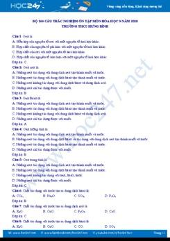 Bộ 100 câu trắc nghiệm ôn tập môn Hóa học 9 Trường THCS Hưng Bình
