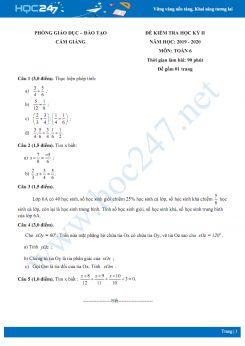 Đề kiểm tra KH2 môn Toán lớp 6 năm 2020 Phòng GD&ĐT Cẩm Giảng có đáp án