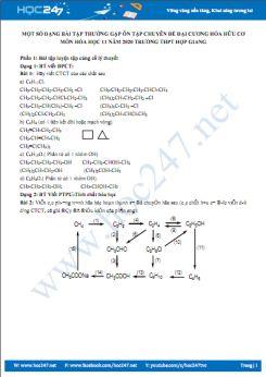 Một số dạng bài tập ôn chuyên đề đại cương Hóa hữu cơ môn Hóa học 11 năm 2020 Trường THPT Hợp Giang
