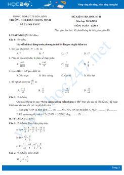 Đề kiểm tra HK2 môn Toán lớp 6 năm 2020 trường TH&THCS Trung Minh có đáp án