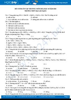 Đề ôn tập Chương 4 môn Hóa học 10 năm 2020 Trường THPT Mai Lão Bạng