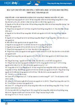 Bài tập chuyên đề Chương 1 môn Hóa học 10 năm 2020 Trường THPT Bắc Thanh Quan