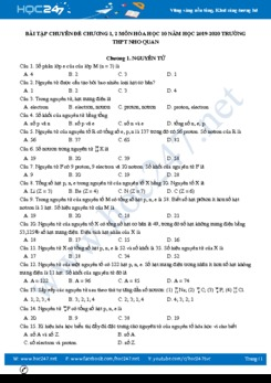 Bài tập chuyên đề Chương 1, 2 môn Hóa học 10 năm 2020 Trường THPT Nho Quan