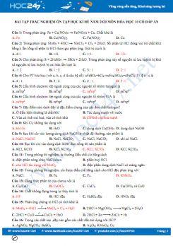 Bài tập trắc nghiệm ôn tập học kì hè năm 2020 môn Hóa học 10 có đáp án