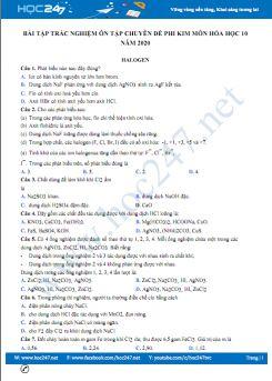 Bài tập trắc nghiệm ôn tập chuyên đề Phi Kim môn Hóa học 10 năm 2020