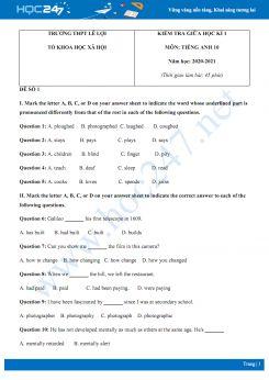 Bộ 2 đề thi giữa HK1 môn Tiếng Anh 10 năm 2020 có đáp án trường THPT Lê Lợi