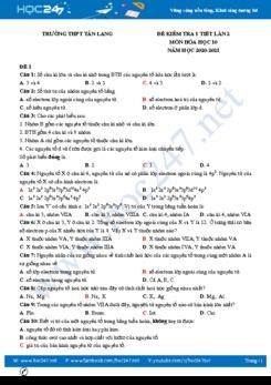 Bộ 4 đề kiểm tra 1 tiết lần 2 môn Hóa học 10 có đáp án năm 2020 Trường THPT Tân Lang