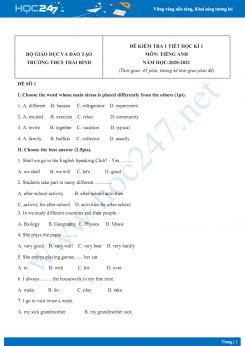 Bộ 2 đề kiểm tra 1 tiết HK1 môn Tiếng Anh 7 năm 2020 có đáp án trường THCS Thái Bình