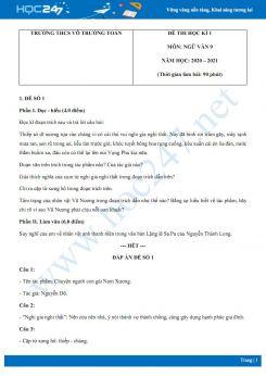 Bộ 2 đề thi Học kì 1 môn Ngữ văn 9 năm 2020 Trường THCS Võ Trường Toản