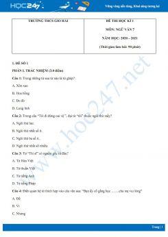 Bộ 2 đề thi Học kì 1 môn Ngữ văn 7 năm 2020 Trường THCS Gio Hải