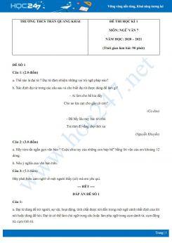Bộ 2 đề thi Học kì 1 môn Ngữ văn 7 năm 2020 Trường THCS Trần Quang Khải