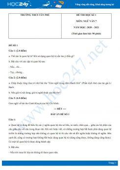Bộ 2 đề thi Học kì 1 môn Ngữ văn 7 năm 2020 Trường THCS Tân Phú
