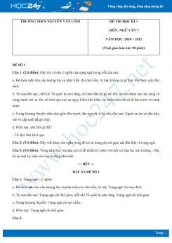 Bộ 2 đề thi Học kì 1 môn Ngữ văn 7 năm 2020 Trường THCS Nguyễn Văn Linh