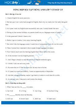 Tổng hợp bài tập Tiếng Anh lớp 7 có đáp án