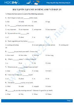 Bài tập ôn tập Unit 10 Tiếng Anh 7 có đáp án