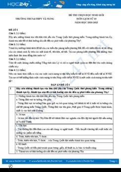 Bộ đề thi chọn HSG môn Lịch sử 10 năm 2021 có đáp án Trường THCS&THPT Tà Nung