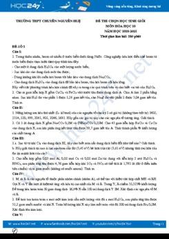 Bộ đề thi chọn HSG môn Hóa học 10 năm 2021 có đáp án Trường THPT Chuyên Nguyễn Huệ