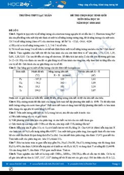 Bộ đề thi chọn HSG môn Hóa học 10 năm 2021 có đáp án Trường THPT Lạc Xuân