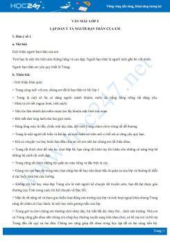 Lập dàn ý bài văn tả người bạn thân - Văn mẫu lớp 5