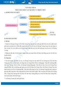Cảm nghĩ về nhân vật Mị Châu và Trọng thủy