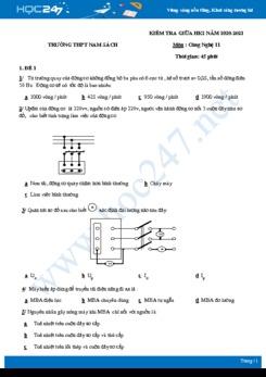 Bộ 5 đề thi giữa HK2 môn Công nghệ 11 năm 2021 - Trường THPT Nam Sách có đáp án