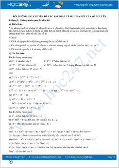 Bồi dưỡng HSG chuyên đề Các bài toán về sự chia hết của số nguyên Toán 8