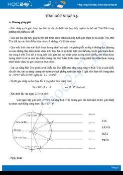 Phương pháp giải các dạng bài tập Tính góc nhập xạ Địa lí 10
