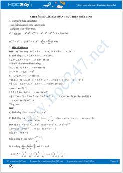 Bồi dưỡng HSG chuyên đề Các bài toán thực hiện phép tính Toán 7