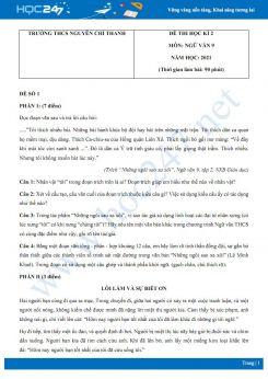 Bộ 5 đề thi HK2 môn Ngữ văn 9 năm 2021 Trường THCS Nguyễn Chí Thanh