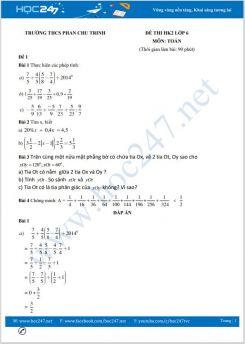 Bộ 5 đề thi HK2 môn Toán lớp 6 có đáp án Trường THCS Phan Chu Trinh