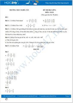 Bộ 5 đề thi HK2 môn Toán lớp 6 có đáp án Trường THCS Nghĩa Tân
