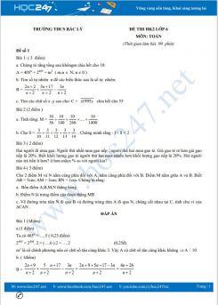 Bộ 5 đề thi HK2 môn Toán lớp 6 có đáp án Trường THCS Bắc Lý