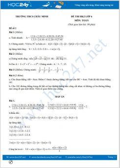 Bộ 5 đề thi HK2 môn Toán lớp 6 có đáp án Trường THCS Châu Minh