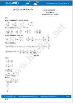 Bộ 5 đề thi HK2 môn Toán lớp 6 có đáp án Trường THCS Ngô Quyền