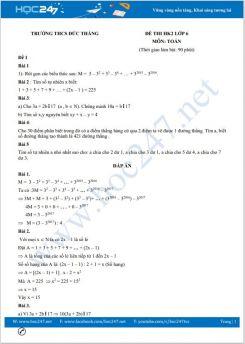 Bộ 5 đề thi HK2 môn Toán 6 có đáp án trường THCS Đức Thắng