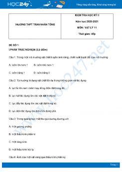 Bộ 5 đề thi HK2 môn Vật Lý 11 năm 2021 có đáp án Trường THPT Trần Nhân Tông