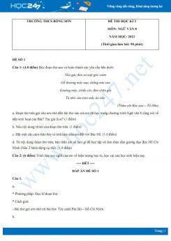 Bộ 5 đề thi HK2 môn Ngữ văn 8 năm 2021 Trường THCS Bồng Sơn
