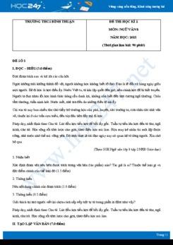 Bộ 5 đề thi HK2 môn Ngữ văn 8 năm 2021 Trường THCS Bình Thuận