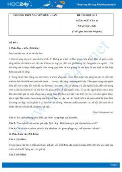 Bộ 5 đề thi HK2 môn Ngữ văn 11 năm 2021 Trường THPT Nguyễn Hữu Huân