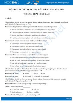 Bộ 5 đề thi thử THPT QG năm 2021 môn Tiếng Anh Trường THPT Ngọc Lâm
