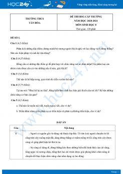 Bộ 5 Đề thi HSG môn Sinh Học 8 năm 2021 Trường THCS Tân Hòa có đáp án
