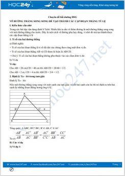 Chuyên đề Vẽ đường thẳng song song để tạo thành các cặp đoạn thẳng tỉ lệ Toán 8