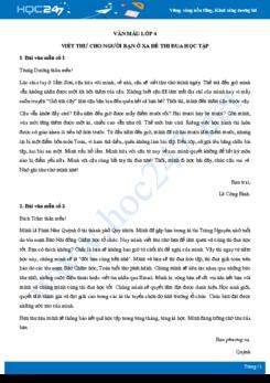 Viết thư cho người bạn ở xa để thi đua học tập - Văn mẫu lớp 4