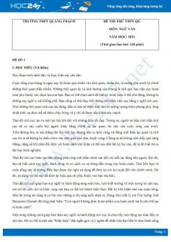 Bộ 5 đề thi thử THPT QG môn Ngữ văn năm 2021 trường THPT Quảng Trạch