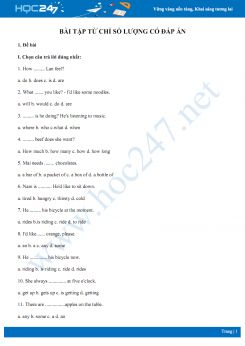 Bài tập từ chỉ số lượng có đáp án